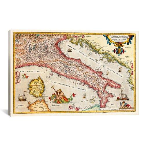 icanvasart 11185Antik Karte von Italien Kunstdruck auf Leinwand 18