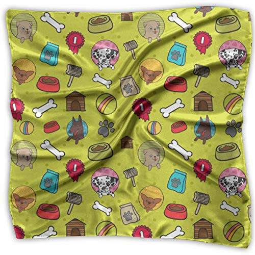 Hipiyoled Women's Square Handkerchief Dog Life Toy Bone Food Pattern Polyester Neck Head Scarf Satin Wool Cap