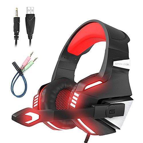 Mengshen Gaming Headset - Mit Mikrofon, GeräUschisolation, LautstäRkeregler, Led-Licht - FüR PS4/Xbox One/Laptop/PC/Mac/iPad/Computer/Smartphones - G7500 Red