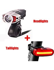 FREEMASTER Fahrradlicht Set USB AKKU Zugelassen LED Fahrradbeleuchtung Fahrradlampensets 300 120 lumens