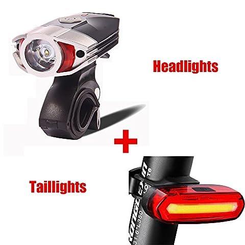 FREEMASTER Fahrradlicht Set USB AKKU Stvzo Zugelassen LED Fahrradbeleuchtung Fahrradlampensets 300 120 lumens