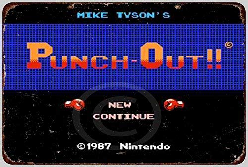 HNNT New Tin Sign Mike Tyson's Punch-Out Start Screen Aluminum Metal Sign 8x12 Inches