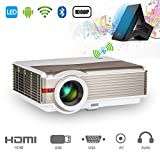 EUG 5000 lumen Proyector de Android Bluetooth HD Proyector de video Cine en casa 200' LED Projector Support 1080P HDMI VGA USB AV Audio para entretenimiento al aire libre Juegos deportivos phone DVD