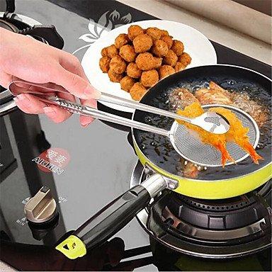 Filtros multifuncionales de cocina con pinza, herramientas de cocina de acero inoxidable