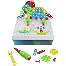 3D DIY Juguetes Bloques de Construcción Caja Colorida y Portátil Juegos de Mesa129 Pieza para Niños Chico