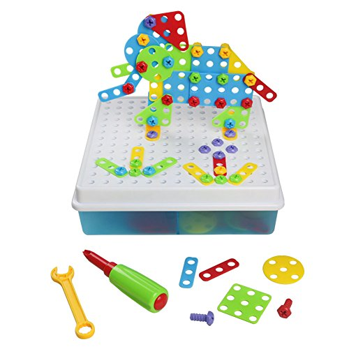 3D Building Blocks Pegboard Game Mosaic Puzzle DIY Construction Toy with Storage Box for Kids