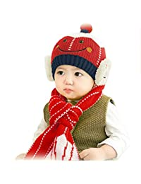 a3c518642e Ziory Baby Boy's and Baby Girl's Knitting Wool Smiley Pencil Earflap Beanie  Cap with Knitted Muffler Set (Red, 1-2…