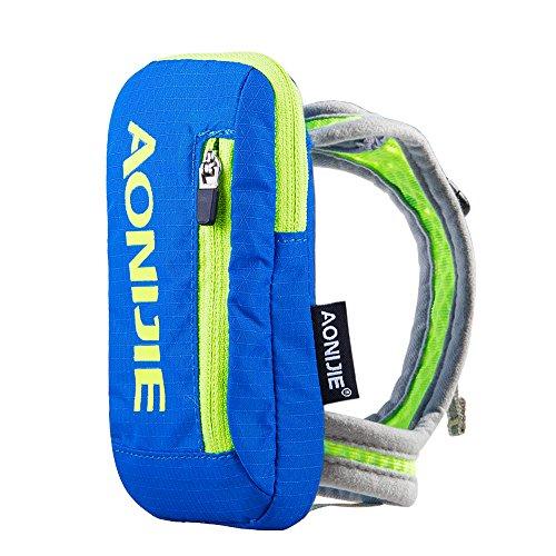 Imagen de aonijie bolsa de nylon para maratón de mano  de hidratación senderismo ciclismo running eléctrica bolso de mano para 250ml botella de agua deportes al aire libre, azul