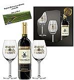 100% Espania | Luxus Rotwein Geschenk-set | Terra Molino Reserva D.O. im Goldnetz | inkl 2 Rotwein-Gläsern aus Kristallglas mit Echt-Gold Emblem