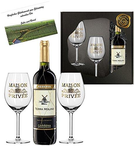 100% Espania   Luxus Rotwein Geschenk-set   Terra Molino Reserva D.O. im Goldnetz   inkl 2 Rotwein-Gläsern aus Kristallglas mit Echt-Gold Emblem