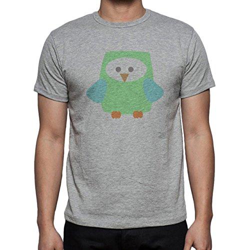 Owl Bird Night Midnighter Green Herren T-Shirt Grau