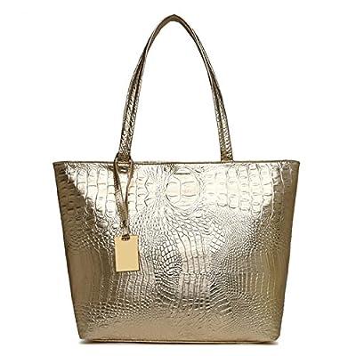 Femmes occasionnels Sacs à bandoulière sac à main Crocodile Noir Argent Or cuir PU Femme grand sac sac sacs à main Dames
