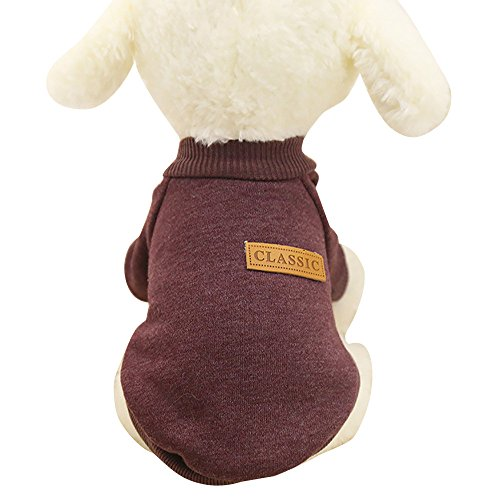 U.Expectating Haustierweste Sweatshirts Haustier Hund Klassische Pullover Kleidung Haustier liefert Winter warme Hundebekleidung (L, Kaffee)