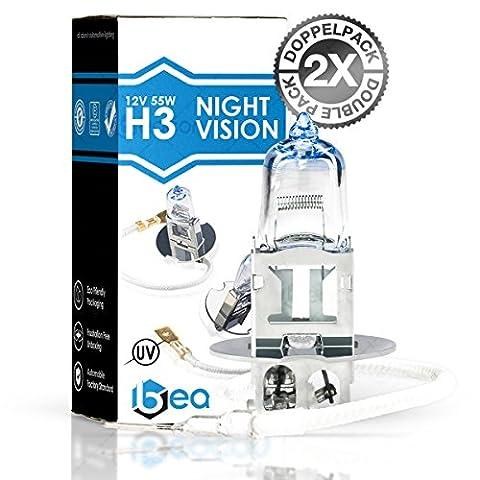 Lampe de phares Beacon H3 night vision – Visibilité claire dans le brouillard, la pluie, la neige et les routes mouillées - Convient à toutes les voitures avec socle de lampe H3 PK22s (12V 55W), pour les éclairages faibles et faisceaux principaux, y compris l'immatriculation routière dans un double pack écologique (2 pièces d'ampoules H3).