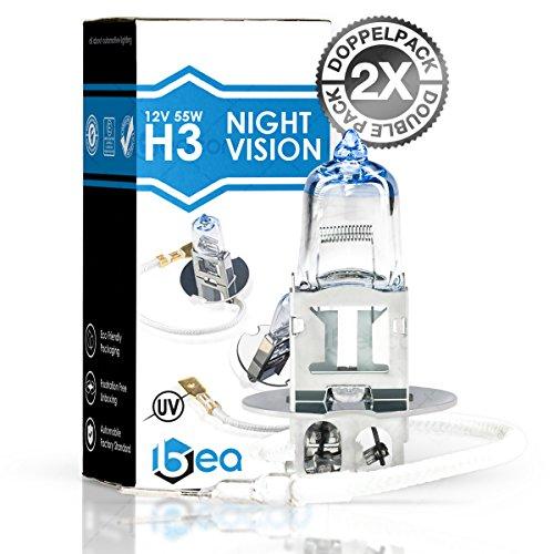 2x Beacon H3 Night Vision Scheinwerferlampe - Höchste Sicherheit bei Nebel, Regen, Schnee und nasser Fahrbahn - Passt in alle PKW mit H3 Lampen PK22s Sockel (12V 55W)