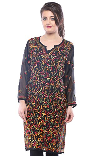 ADA Hand Embroidered Ethnic Casual Chikankari Straight Georgette Kurti A90314