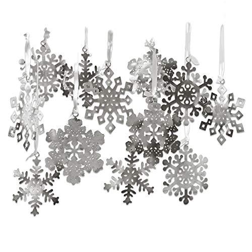 Loberon Weihnachtsschmuck 12er Set Flocon de Neige, Eisen, H/B ca. 14/11 cm, Silber