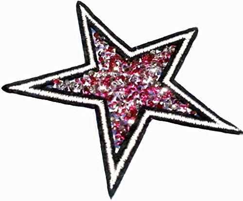 """Glitzer Strass Stern Aufnäher Stern Bügelbild Aufbügler Iron on Patches Applikationen mit Glitzer Strass Sterne zum aufbügeln """" Strass - Stern pink 10 cm """""""