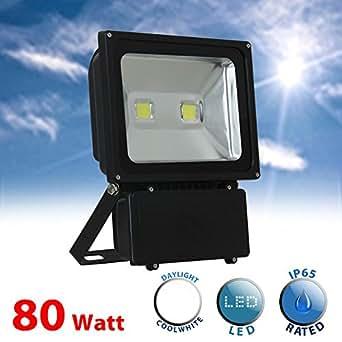 MiniSun Projecteur extérieure à LED. IP65. 80 watt SMD LED. Haute Puissance 8000 lumens. 6000k Lumière du Jour. Orientable