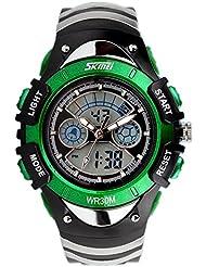 XLORDX SKMEI Kinder Sport Armbanduhr Resin Analog Digital Quarz Kalender Alarm Chronograph 5ATM wasserdicht grün
