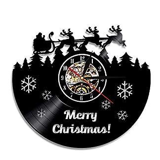 zxyxc Handmade 1 Pieza Silueta Moderna Sala de Estar decoración luz de Fondo LED luz Vinilo Reloj de Pared Cambio de Color Feliz Navidad Tema de Ciervos Interior