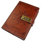 Tagebuch mit Schloss Vintage Notizbuch Kunstleder B6 von Ishua