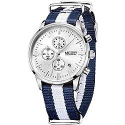 Megir Men's Sport Luminous Canvas Quartz Wrist Watches