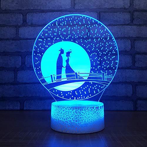 Elster Brücke Liebhaber Modell Riss Optische Täuschung Lampe Led 3D Lampe Nachtlicht Acryl Atmosphäre Lampe 7 Farbe Moderne Lampe (Einem Zu Eine Brücke Sternenhimmel)