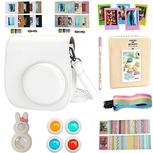 Alohallo instax mini 8 Zubehör für FujiFilm Instax Mini 8 / 8+ /9 Sofortbildkamera / Mini 8+ Kamera mit Kameratasche / Close-Up Objektiv / Mini Album / Farbrahmen / Sticker Ränder / Riemen / Stifte / Filter - Weiß