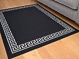 Black Greek Key Non Slip Machine Washable Rug. Available in 6 Sizes (120cm x 160cm)