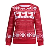 Luckycat Christmas Sweater Damen Weihnachtspullover Weihnachten Pulli Xmas Rudolph Rentier Rote Puschelnase Pullover Sweatshirt