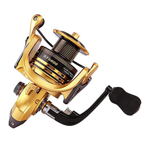 Thekuai Spinning Angelrolle 13+1 BB Links/rechts austauschbar leicht und glatt kraftvolle Kohlefaser Drag Salzwasser Süßwasser, Gold,Black, XF2000