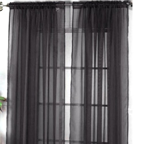 Display08colore puro vetro filato sheer finestra tenda mantovana casa camera da letto wedding decor–100cm x 200cm (su asta) (nero)
