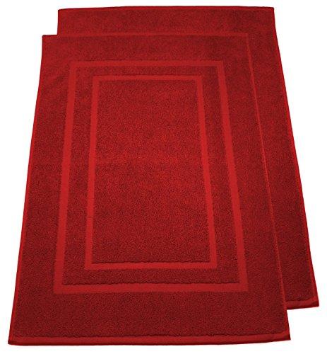 2er Pack Frottier Badevorleger Badematte Duschvorleger Set 50x80cm – Qualität 800 g/m² – 100% Baumwolle in 19 modernen Farben (Rot)