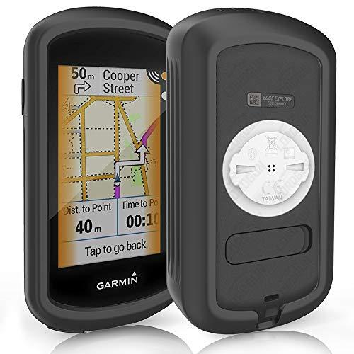 TUSITA Hülle für Garmin Edge Explore GPS - Silikon schutzhülle Skin - Zubehör für Touchscreen Bike Computer (SCHWARZ)