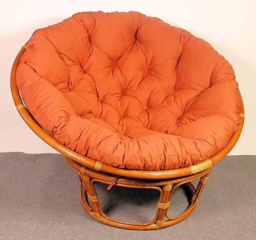 Rattan Papasan Sessel inkl. hochwertigen Polster , D 110 cm , Fb. cognac . Pad Lachsfarben . - 3