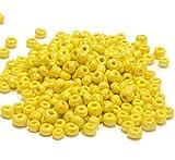 Perles de rocaille de 450 g - 4 mm - Perles de Verre Opaque Jaune - Perles Textiles, Mini Perles, 5000stk 6/0 - Perles d'Indienne Rondes - A196