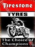 RKO Firestone Neumáticos The Choice of Champions Bici y Coche Garaje Vintage Acero/Metal Pared - 20 x 30 cm