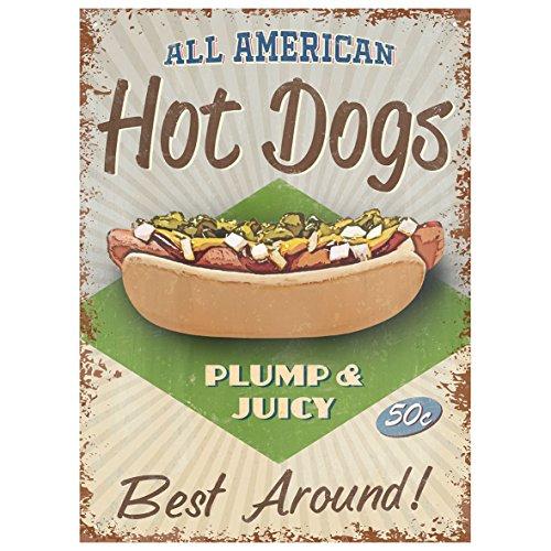 Rot Hot Lemon 300x 410mm Weißblech/Metall Hot Dogs Wandschild, mehrfarbig (Red Dog Diner)