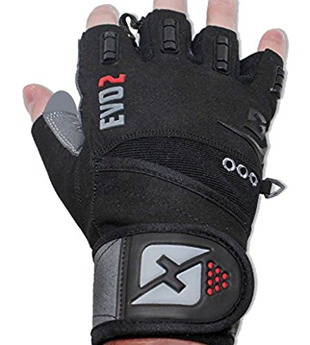 2018 Evo 2 Weightlifting Gloves with Integrated Wrist Wrap Support-Double Stitching for Extra Durability-Get Ripped with the Best Body Building Fitness Crossfit and Exercise Accessories (Large)
