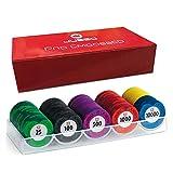 Juego 100 Fichas de póker valoradas Tacto Casino en caja – Varios Colores