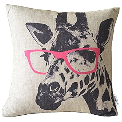 Elviros Linen Cotton Blend Decorative Cushion Cover Throw Pillow Case 18x18 inch - Giraffe with Glasses produced by Elviros - quick delivery from UK.
