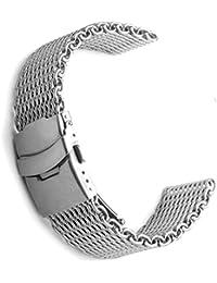 18mm tiburón malla milanesa acero inoxidable banda de reloj de plata