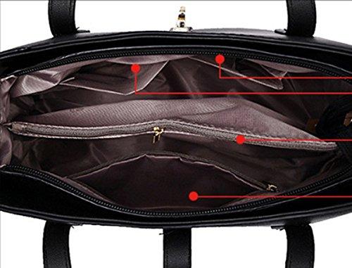 Un insieme di tre pezzi Womens Fashion Borsa in pelle sintetica borsa da viaggio borsa a tracolla Hot Travel Bag Argento