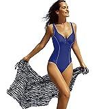 Delimira - Bañador Escote en V Traje de Baño de Una Pieza Para Mujer Azul oscuro EU:36