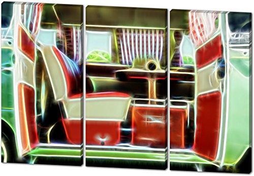 Vintage Bullie, Light Effect, schönes und hochwertiges Leinwandbild zum Aufhängen in XXL - 3 Teiler mit 120cm x 80cm, echter Holzrahmen, effektiver Pigmentdruck, modernes Design für Ihr Büro oder Zimmer (15 Brief Weißen Reifen)