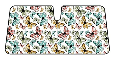 Original BUTTERFLIES Multicolor Reflective Double Bubble Foil Jumbo Folding Accordion SUNSHADE for Car Truck SUV Front Windshield Window Reversible Sun Shade Universal 28x58 inches