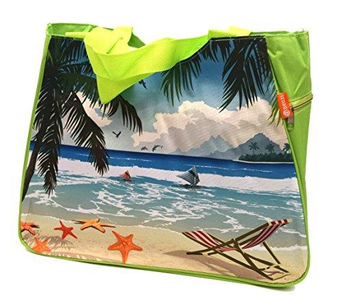 Beach Bag mittelgroß oder groß oder klein * * * Aqua/Rot/Gelb/Limettengrün/Orange/Blau/Violett/Grün * * * floral Sommer Tasche Cruise Urlaub Reise Picknick Grün (BZ5001) Green 46x37x26cm M/L (Green Bag Beach)