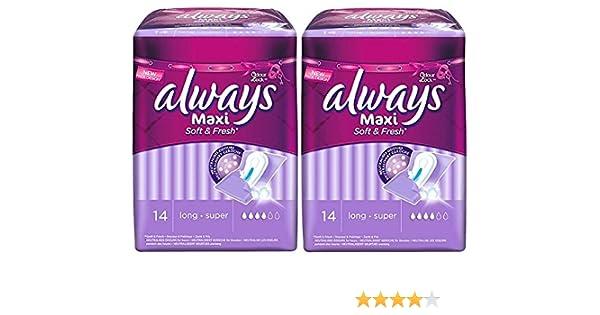 Always Maxi Pro-Fresh Binden, Super, lang, 2 x 14 Stück: Amazon.de ...