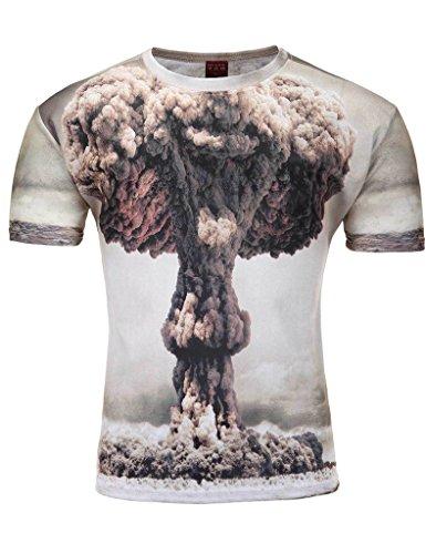 Bestgift Herren T-Shirt Rundhalsausschnitt Top Mann Designs Tee Weiß1